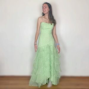 Mori lee floor length dress green ruffle sequin